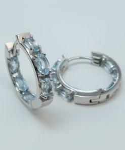 Silver Hoop Earrings - 5x3mm Oval Blue Topaz