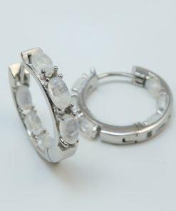 Silver Hoop Earrings - 5x3mm Oval Moonstone
