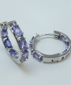 Silver Hoop Earrings - 5x3mm Oval Tanzanite