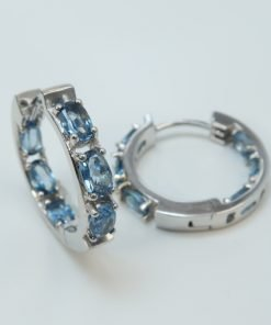 Silver Hoop Earrings - 5x3mm Oval London Blue Topaz