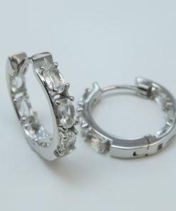 Silver Hoop Earrings - 5x3mm Oval Clear Quartz