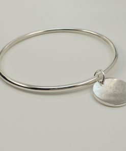 Silver Bangles - 3mm Round with 19mm Disc