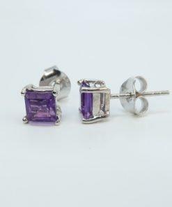 Silver Stud Earrings - 5mm Square Amethyst