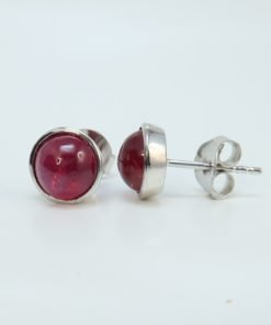 Silver Stud Earrings - 6mm Cabochon Ruby