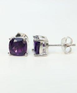 Silver Stud Earrings - 7mm Cushion Cut Amethyst