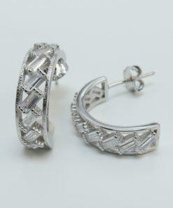 Silver Hoop Earrings - 16mm Baguette Cubic Zirconia