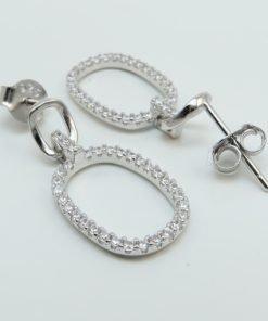 Silver Drop Earrings - 22mm Oblong Cubic Zirconia