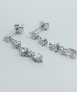 Silver Drop Earrings - 24mm Cubic Zirconia