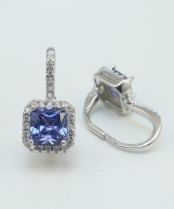 Silver Drop Earrings - 19mm Blue Square Cubic Zirconia Clip
