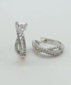 Silver Hoop Earrings - 16mm Cubic Zirconia Cross Over