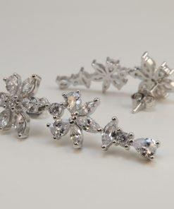Silver Drop Earrings - 31mm Cubic Zirconia Flower