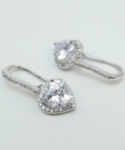 Silver Drop Earrings - 24mm Heart Halo