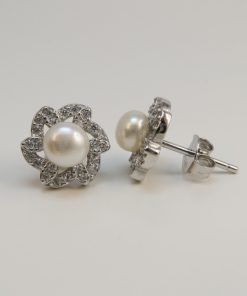 Silver Stud Earrings - 5mm Freshwater Pearl and Cubic Zirconia