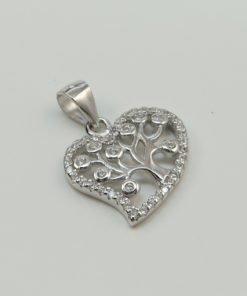 Silver Pendants - 15mm Cubic Zirconia Tree Heart