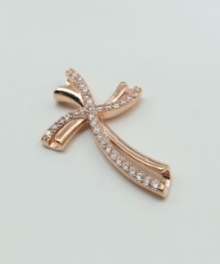 Silver Pendants - 27mm Rose Gold Plated Cubic Zirconia Cross