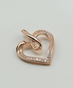 Silver Pendants - 17mm Rose Gold Plated Infinity Heart