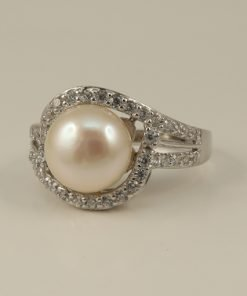 Silver Rings - 8mm Freshwater Pearl Crossover