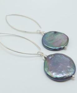 Silver Drop Earrings - 60mm Peacock Coin Pearl