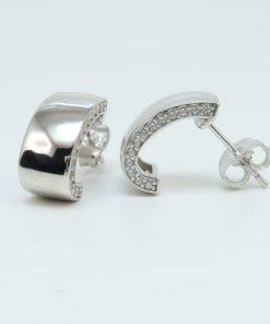 Silver Hoop Earrings - 14mm Cubic Zirconia