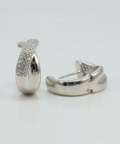 Silver Hoop Earrings - 15mm Cubic Zirconia Cross Over