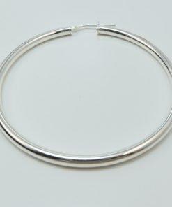 Silver Hoop Earrings - 56mm Round