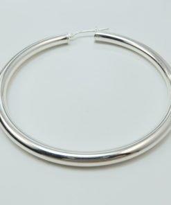 Silver Hoop Earrings - 57mm Round