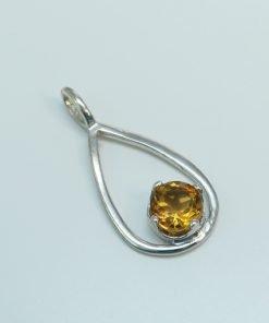 Silver Pendants - 5mm Claw Set Citrine Drop