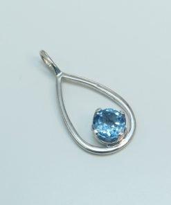 Silver Pendants - 5mm Claw Set Blue Topaz Drop