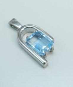 Silver Pendants - 10x8mm Emerald Cut Blue Topaz