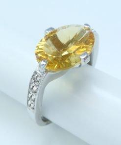 Silver Rings - 13x10mm Citrine & Diamond