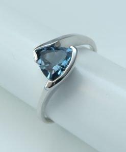 Silver Rings - 7mm Trillion Cut Tension Set London Blue Topaz