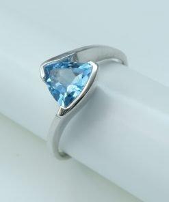 Silver Rings - 7mm Trillion Cut Tension Set Blue Topaz