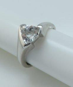 Silver Rings - 7mm Trillion Cut Silver Topaz