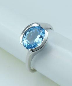 Silver Rings - 9x7mm Blue Topaz Tension Set