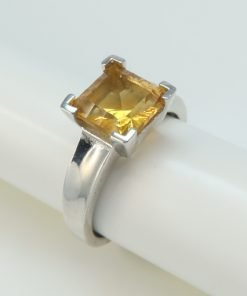 Silver Rings - 8mm Square Claw Set Citrine