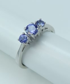 Silver Rings - 0.49ct Claw Set Trilogy Tanzanite