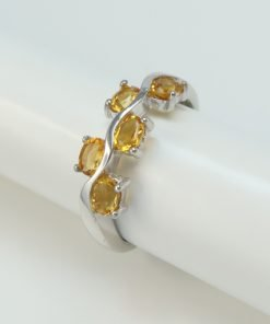 Silver Rings - 4x3mm Oval Citrine Wave