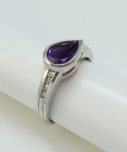 Silver Rings - 8x6mm Pear Shaped Amethyst & Diamond