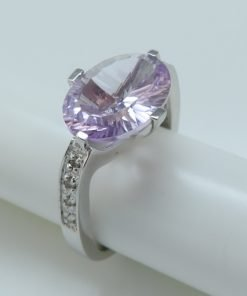 Silver Rings - 13x10mm Rose de France Amethyst & Diamond