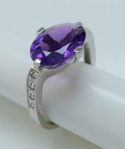 Silver Rings - 13x10mm Amethyst & Diamond