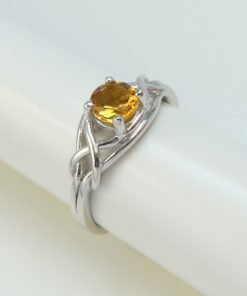 Silver Rings - 5mm Claw Set Citrine Knot