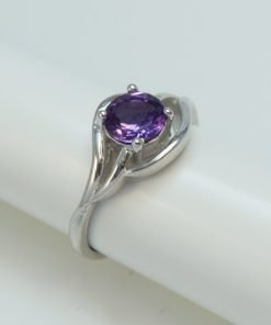 Silver Rings - 6mm Claw Set Amethyst Curved