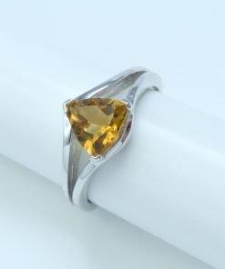 Silver Rings - 7mm Trillion Cut Citrine