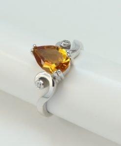 Silver Rings - 9x6mm Pear Shaped Amethyst & Diamond