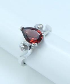 Silver Rings - 9x6mm Pear Shaped Garnet & Diamond