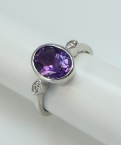 Silver Rings - 9x7mm Oval Amethyst and Diamond