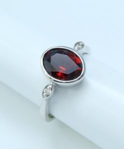 Silver Rings - 9x7mm Oval Garnet and Diamond
