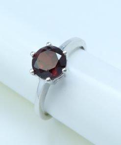 Silver Ring - 7mm Claw Set Garnet