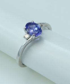 Silver Rings- 0.80ct Oval Tanzanite & Diamond