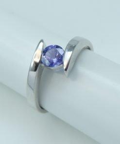 Silver Rings- 0.47ct Tanzanite Tension Set